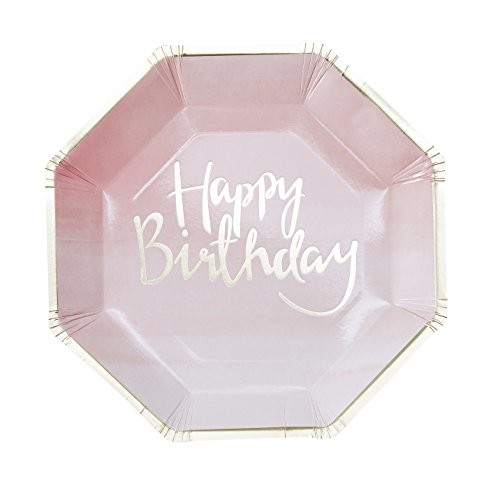 Papptallerken -Rosa Ombre Happy Birthday- 23cm pk/8