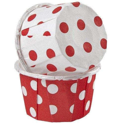 Muffinsform mini Nut Cups Polka Rød/hvit, pk/24