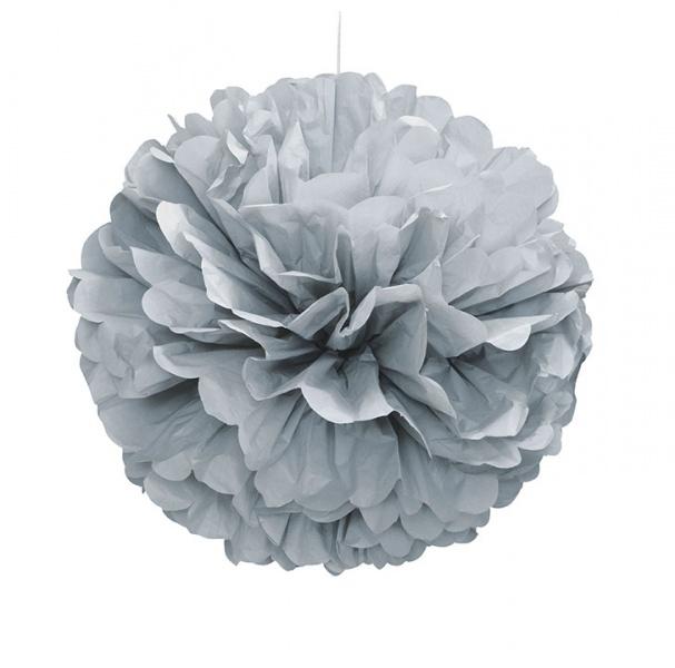 Sølvfarget dekorkule i papir
