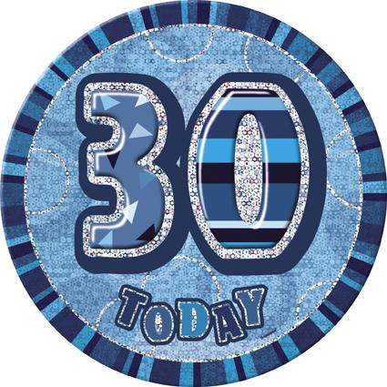 Stor bursdagsbutton blå - 30-tall