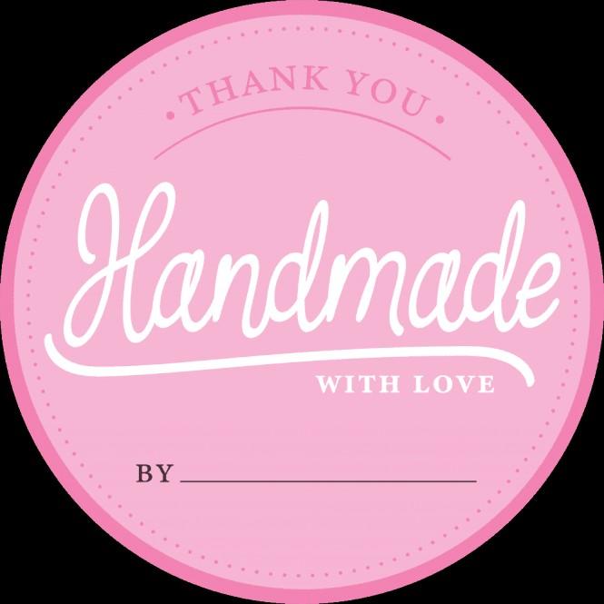 Klistermerker Rosa -Handmade with love- pk/100