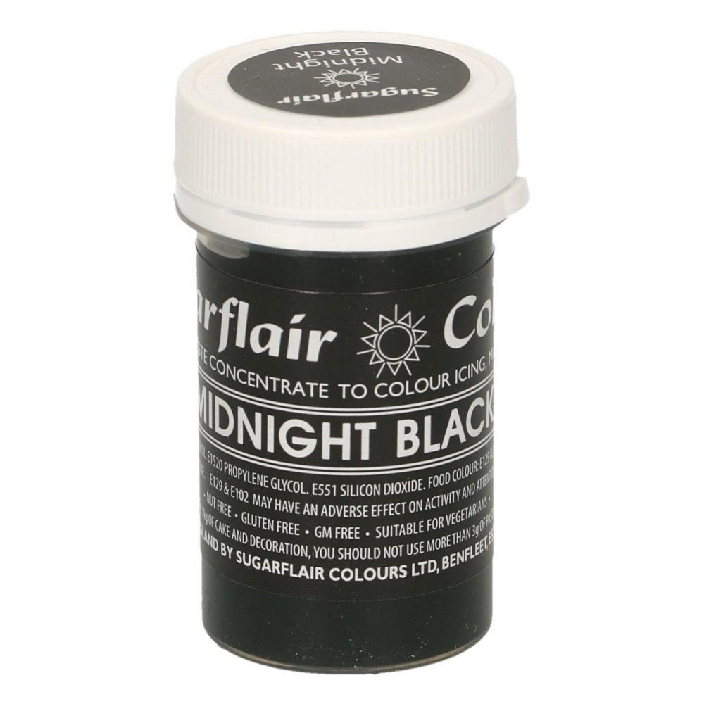 Sugarflair pastafarge Midnight Black, 25g