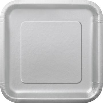 Sølvfarget engangsfat, 16 stk små firkantet