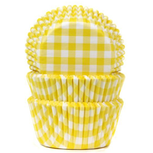 House of Marie Muffinsformer Gingham Gul pk/50