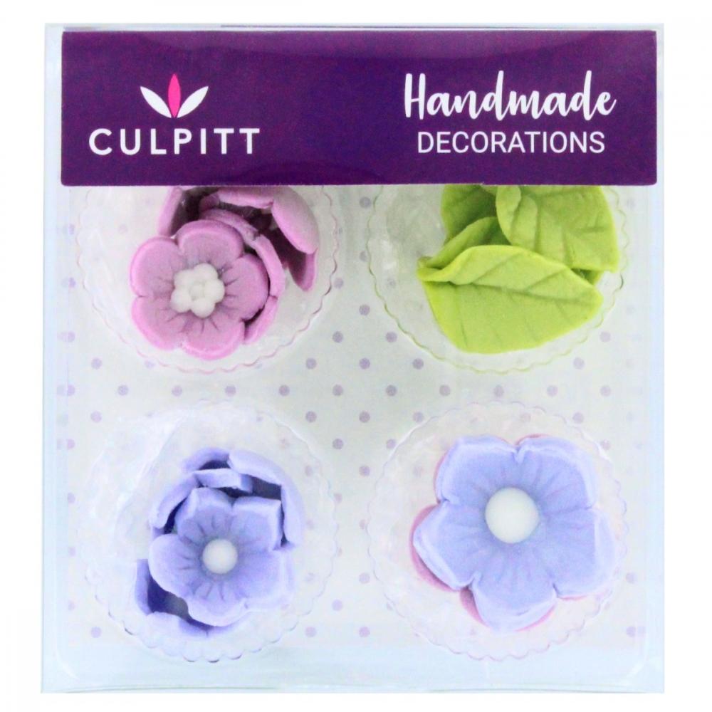 Culpitt Spiselig kakepynt Lilla blomster og blader pk/12