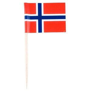 Norske flagg på trepinne, pk/10