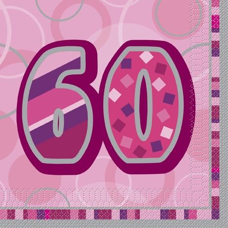 Rosa/sølvfargede servietter med 60 trykk. 16 servietter
