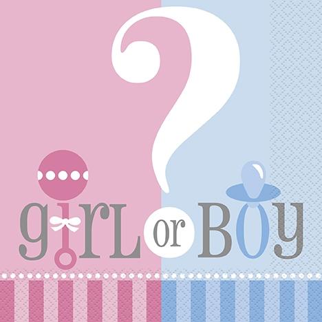 Babyshower 20 servietter Gutt/Jente