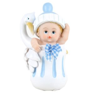 Baby Blå med stork, 11 cm