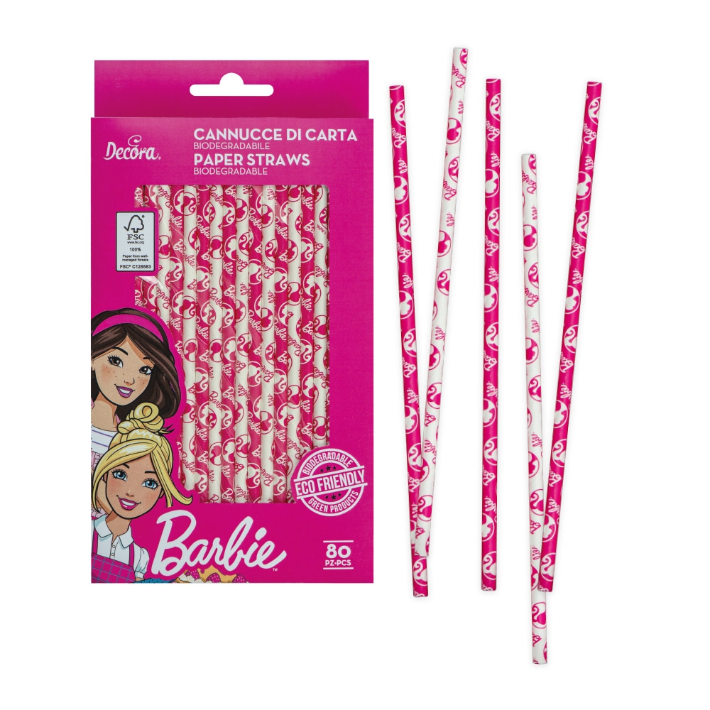 Decora papirsugerør -Barbie- pk/80
