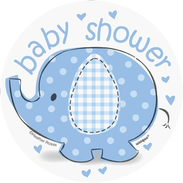 """Babyshower blå cutouts """"elefant/paraply"""", 8stk, 13cm"""