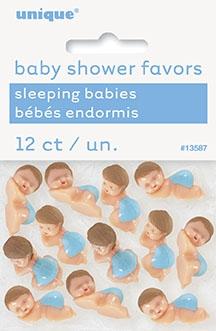 12 små babyfigurer med blå bleie