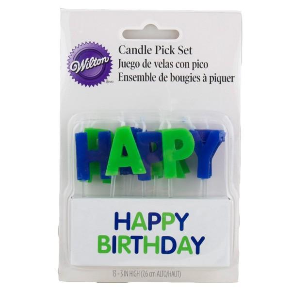 Kakelys Happy Birthday Blå
