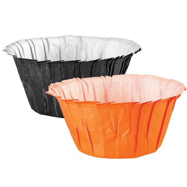 Wilton Muffinsformer Ruffle -Svart og Oransje- pk/24