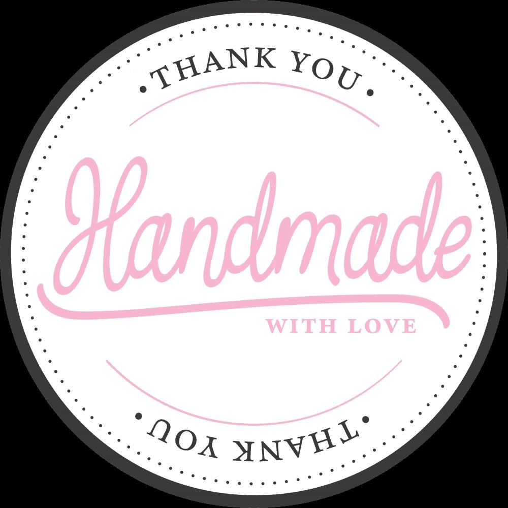 Klistermerker Hvit -Handmade with love- pk/100