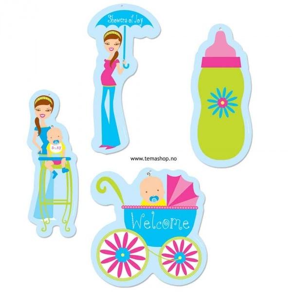 3 pakker Babyshower cutouts, shower of joy, hver figur ca 25-30c