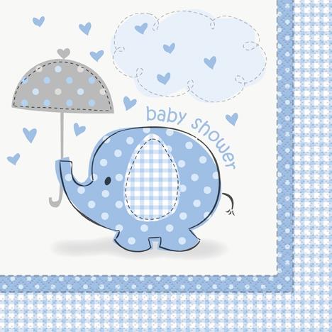 Babyshower elefant blå, 16 servietter i vanlig strl
