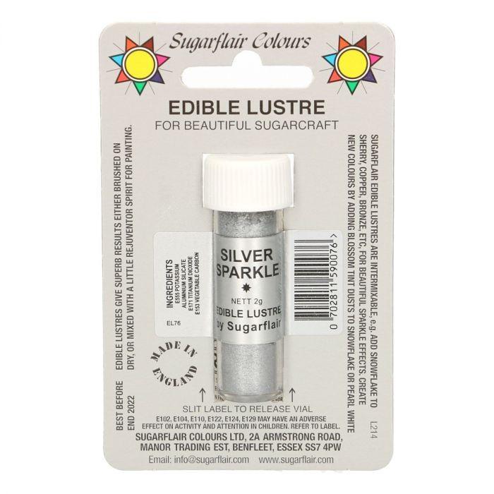 Sugarflair spiselig glitter Silver Sparkle, 2g