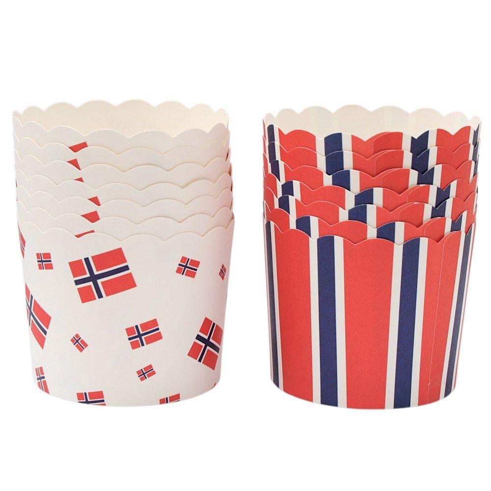 Muffinsform i papp, Norge-tema, pk/24