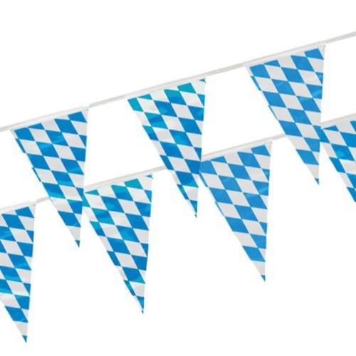 Bayern vimpel plast, blå/hvit-rutet-mønstret 4m