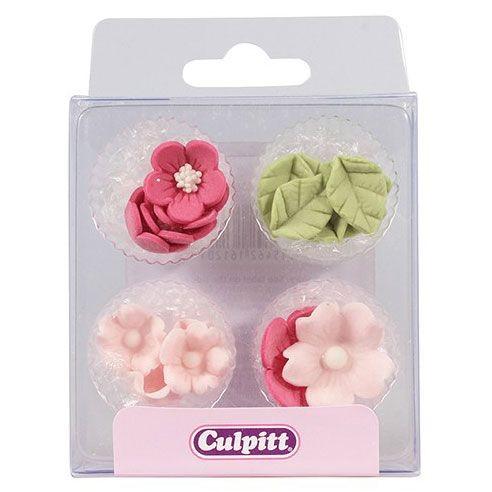 Culpitt Spiselig kakepynt Rosa blomster og blader pk/12