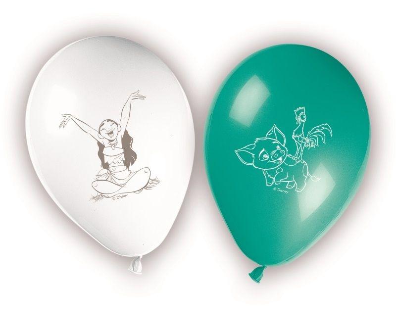 Vaiana ballonger med trykk, 8stk