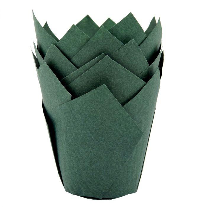 Mørk grønn muffinsform tulipan fra House of Marie pk/36
