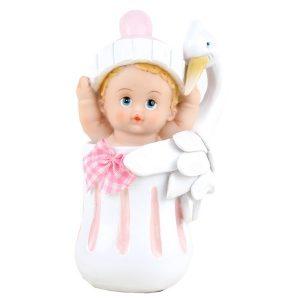 Baby Rosa med stork, 11 cm