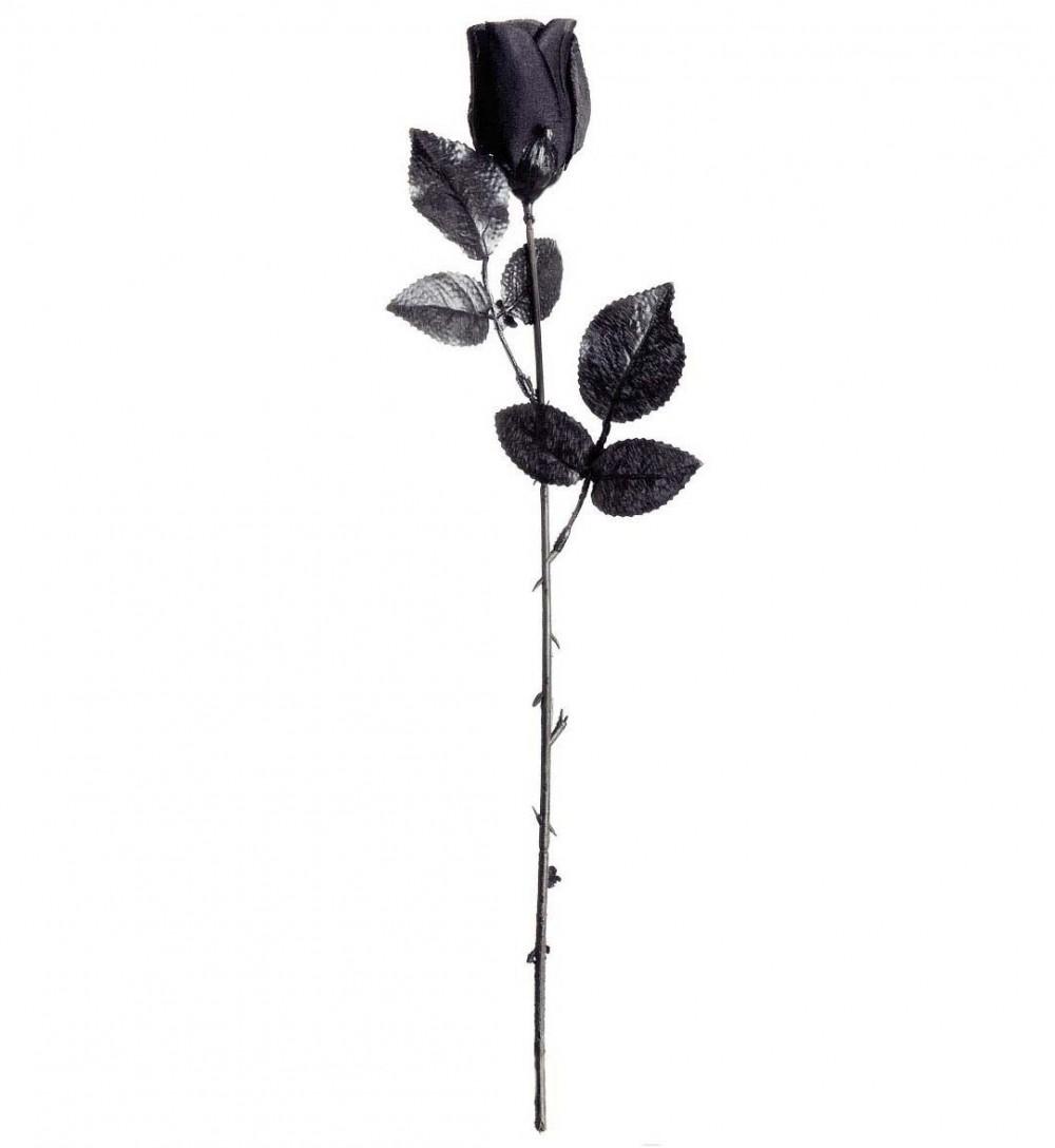 Dekor, Svart Rose i plastikk, 44cm