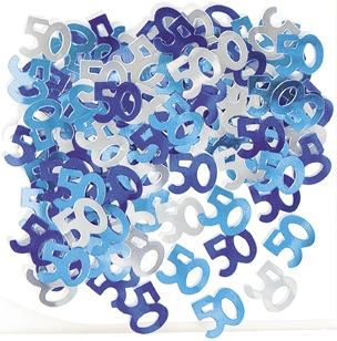 Konfetti -50- Blå og sølv