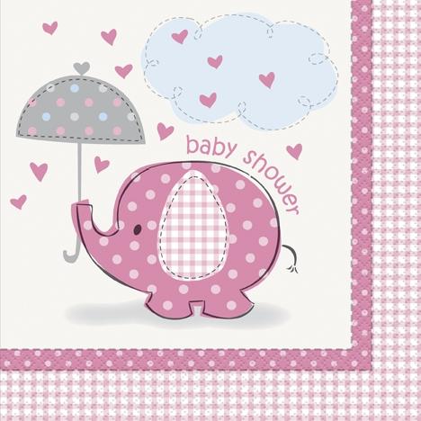 Babyshower elefant, 16 servietter i vanlig strl, rosa