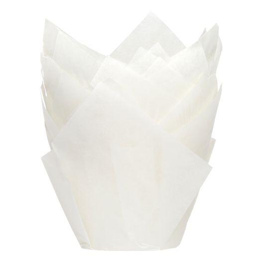 Hvit muffinsform tulipan fra House of Marie pk/36