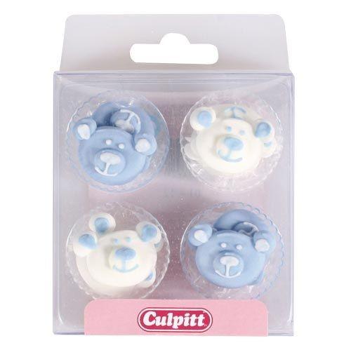 Culpitt Spiselig kakepynt Baby-bjørner, Blå pk/12