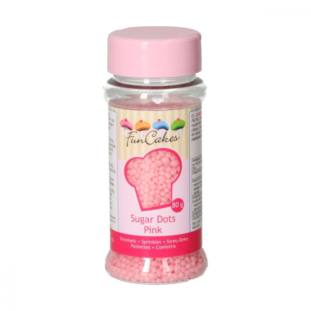FunCakes Kakestrø Sugar Dots -Rosa- 80g