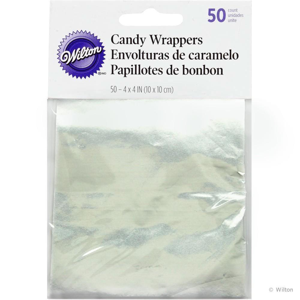 Sølvfarget godteripapir, 10x10cm, 50stk
