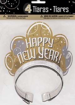 Happy new year - tiara, 4 stk i papp