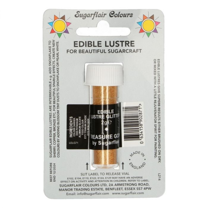 Sugarflair spiselig glitter Treasure Gold 2g