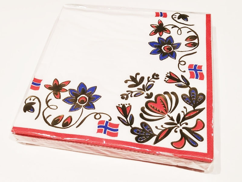 Servietter Norske flagg og gulldekor, pk/20