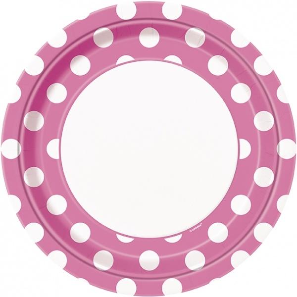 8 rosa/hvit prikkete engangsfat