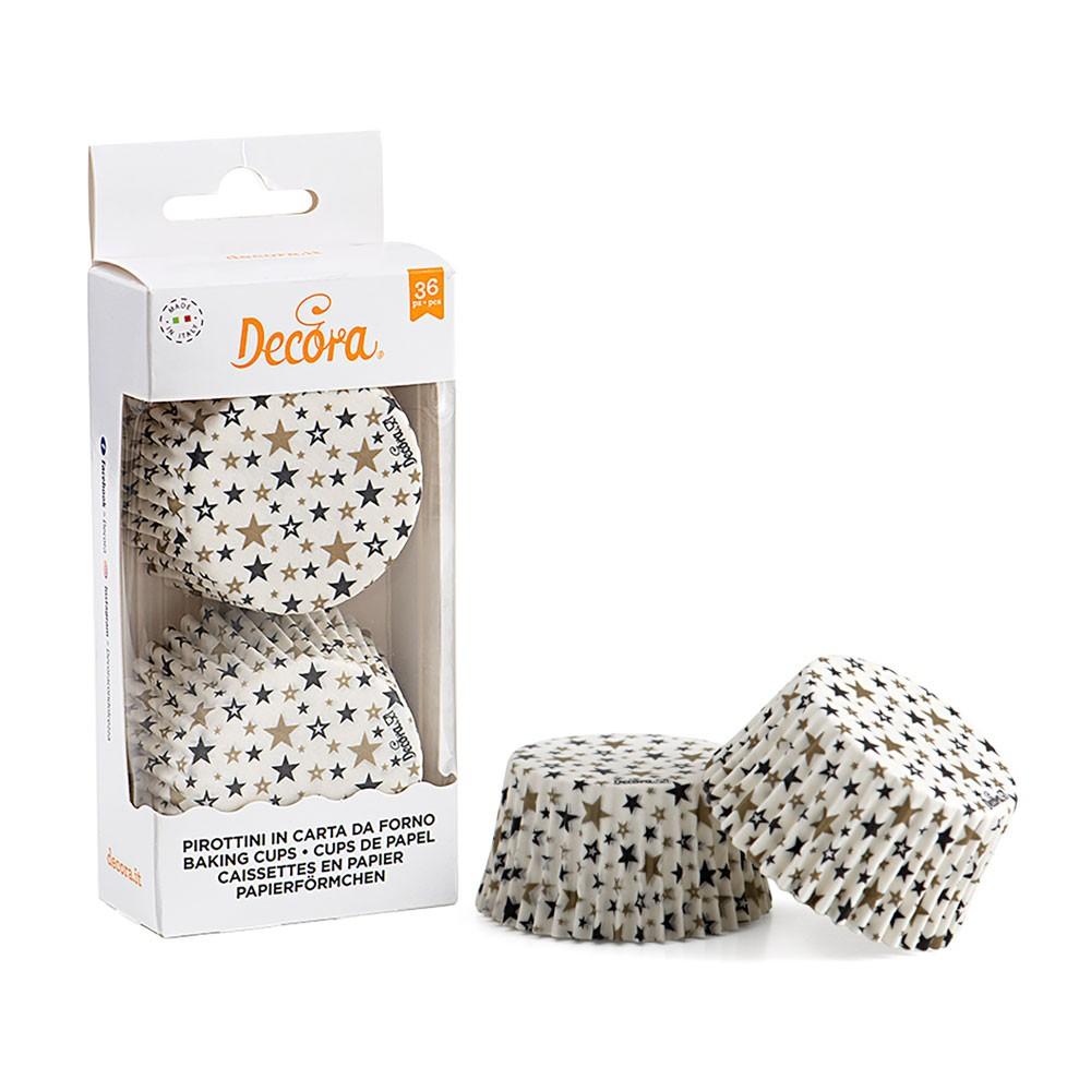 Decora muffinsformer -Stjerner svart og gull- pk/36