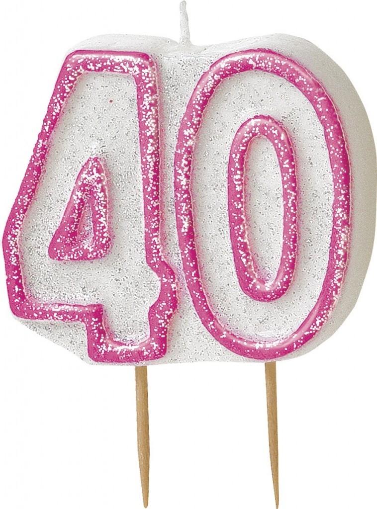 40 tall, rosa/hvit kakelys