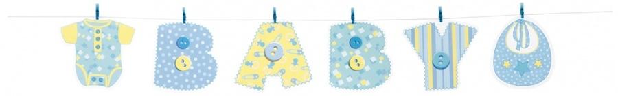 Baby blå stitching banner, papp m/plastklyper