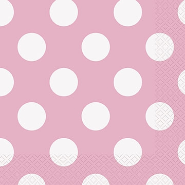 Små hvit/rosaprikket servietter, 16stk