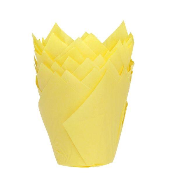 Gul muffinsform tulipan fra House of Marie pk/36