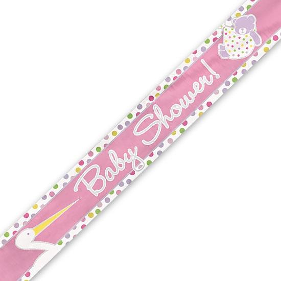 Banner, babyshower/stork rosa