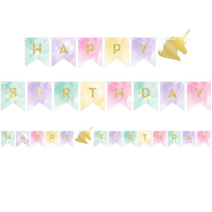 "Enhjørning ""Happy Birthday"" partybanner"