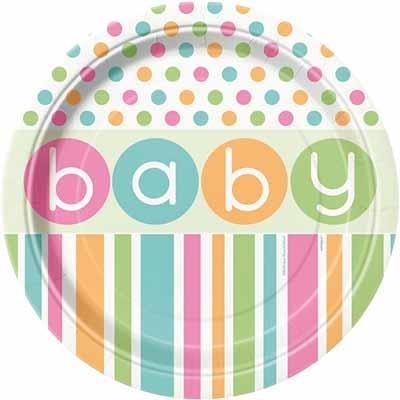 Pastell engangsfat til babyshower, 8 stk