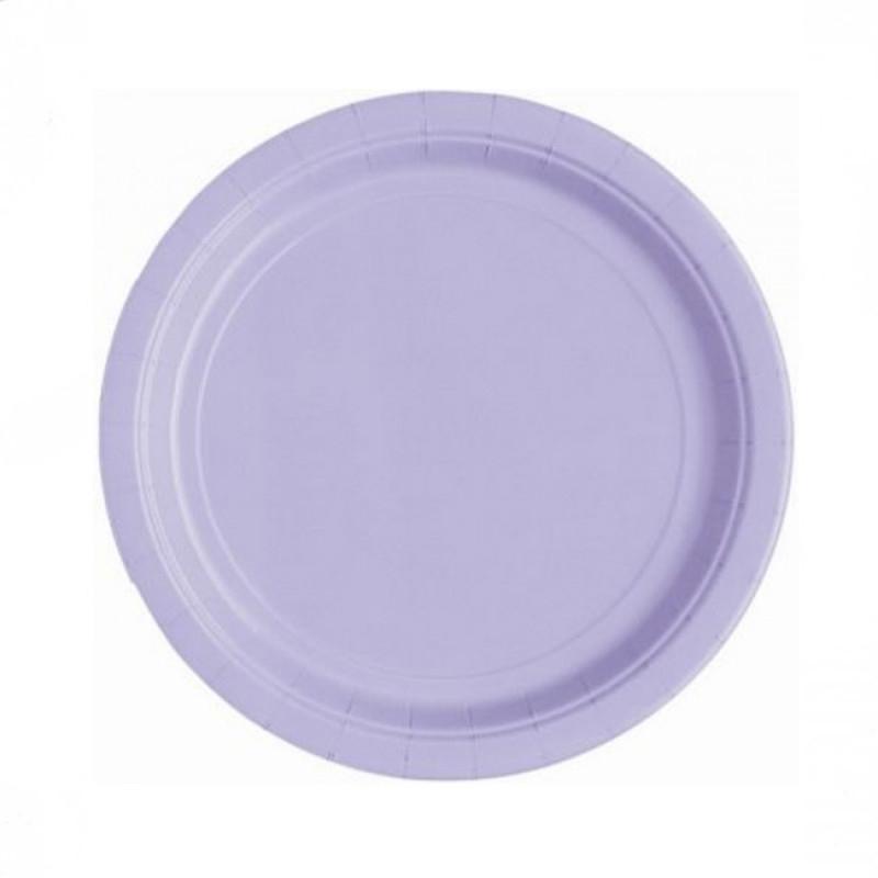 Lavendelfarget små runde engangsfat, 16 stk