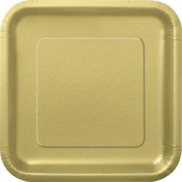 Engangsfat firkantet -Gull- 18cm, 16stk