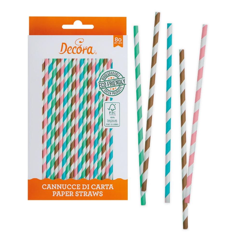 Decora papirsugerør -Pastell stripete- pk/80